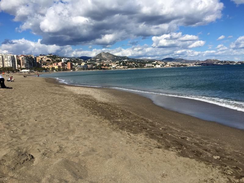 Het strand van Málaga.