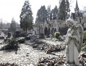 De engel aan het begin van de Algemene Begraafplaats.