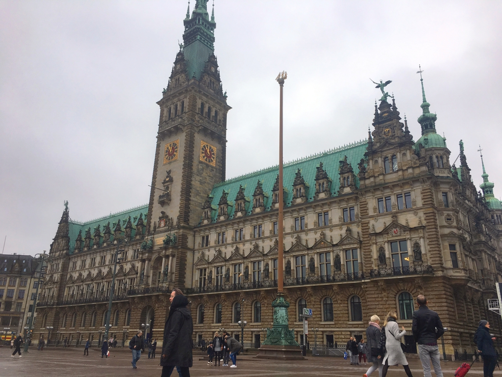 The townhall or Rathaus of Hamburg.