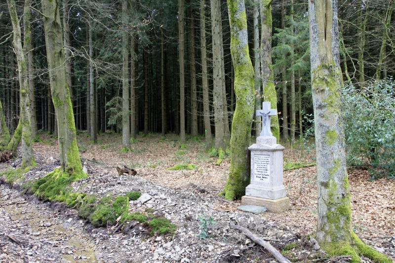 Het grafmonument en het donkere bos